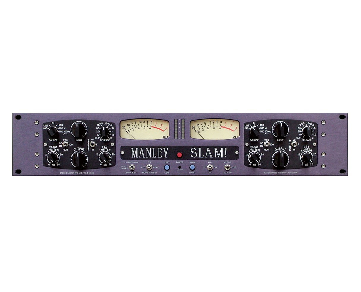 Manley Slam Microphone Preamplifier two channel 2 ch mic preamp pre compressor limiter MSLAM face front panel