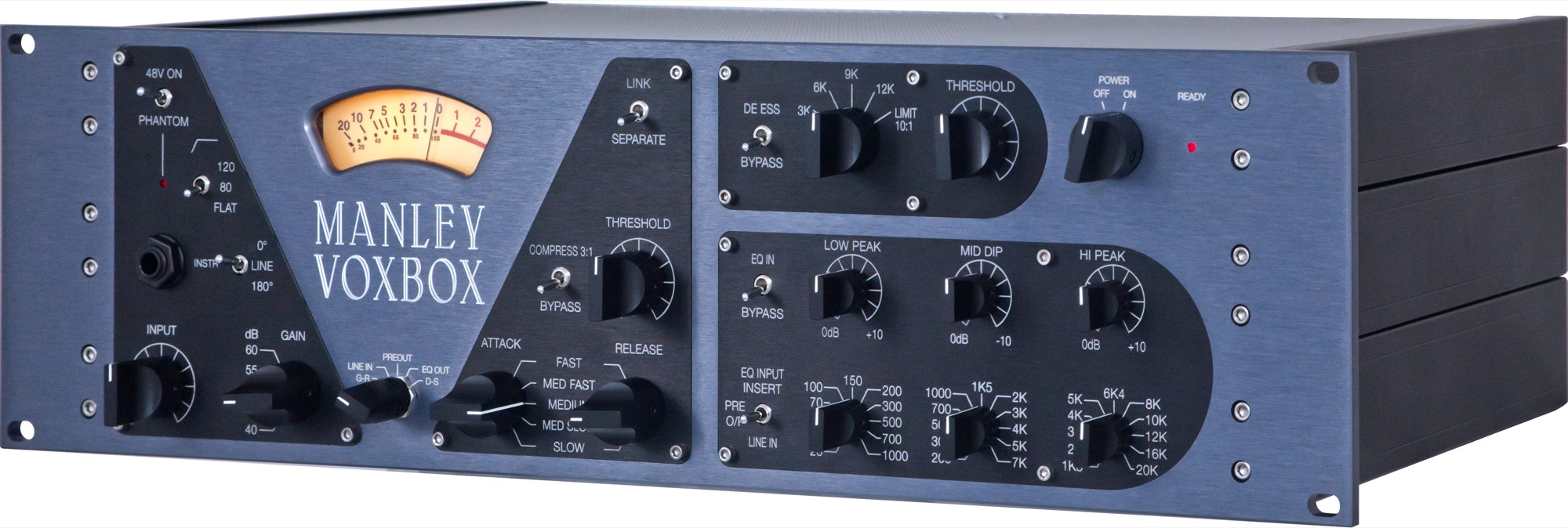 Manley Labs VOXBOX combo microphone preamplifier mic preamp pre compressor EQ equalizer limiter de esser angle side MVBX