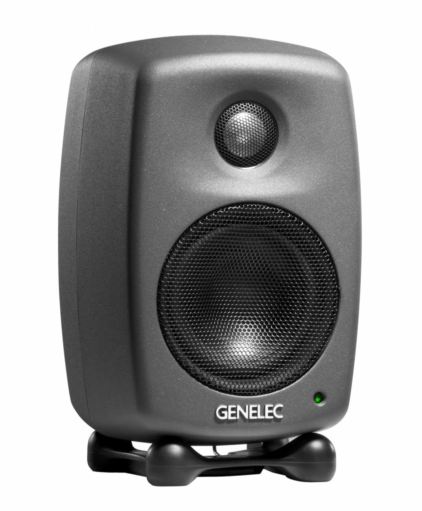 Genelec 8010A Two Way 2 Bi Amplified amp biamp biamplified active studio monitor speaker loudspeaker angle side face front panel Iso Pod table stand 8010APM 8010