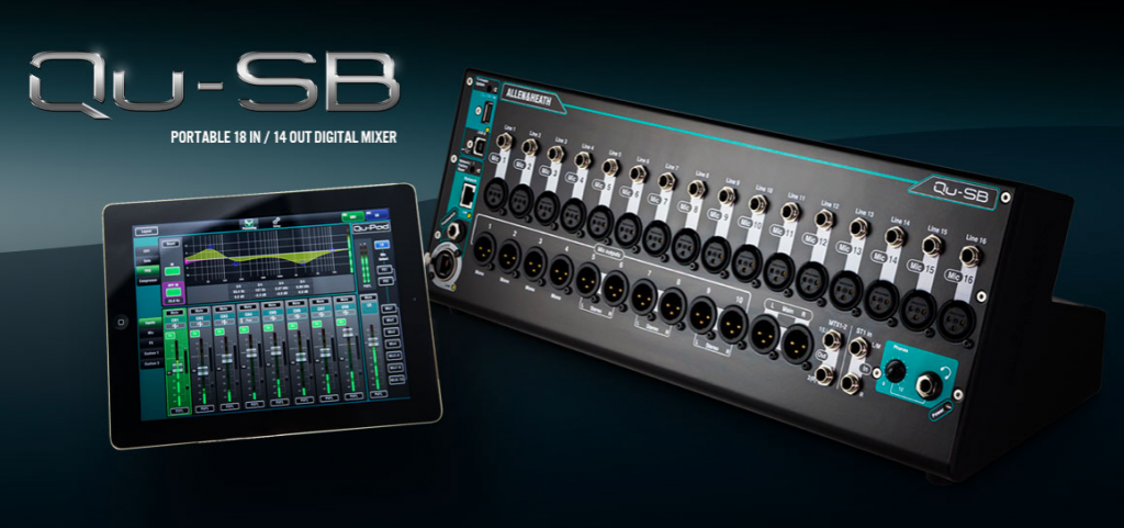 Qu-SB Digital Mixer (right) & Qu-PAD Mixing App (left)